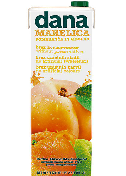 DANA fruit drink 25%, apricot, orange, apple