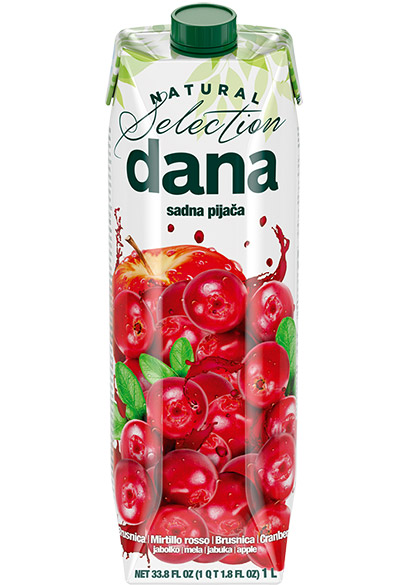 DANA fruit drink 25%, cranberry, apple