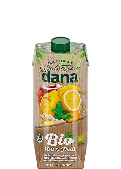 DANA BIO 100 % sadna pijača jabolko, limona, ingver, meta