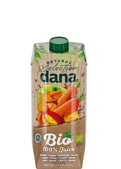 DANA ORGANIC 100% juice, apple, mango, carrot, lemon