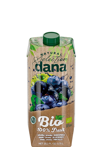DANA ORGANIC 100% juice, apple, aronia, blueberry